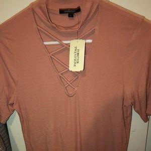 Blush FOREVER 21 cris cross shirt